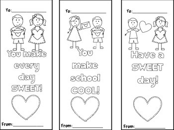 Valentine's Day Color Your Own Bookmark FREEBIE