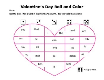 Valentine's Day Color and Roll: Kindergarten sight words and CVC words