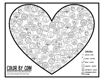 Valentines Day Color by Coin Valentines Day Money Center Valentines Day Coin #1