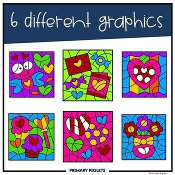 Valentines Day Color by Number Addition Bundle 2 sets