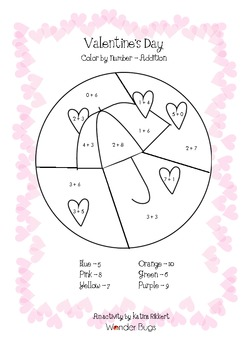Valentine's Day Color by Number - Addition to 10