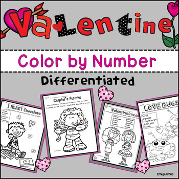 Valentine's Day Color by Number Differentiated (1-10; add