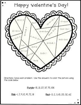Valentine's Day Color by Number- Multiplication, Division, Fractions