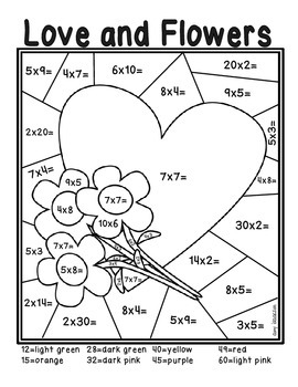 Valentine's Day Color by Number Multiplying Freebie
