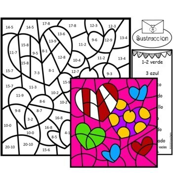 valentine coloring pages spanish | Valentines Day Color by Number Subtraction Set in Spanish ...