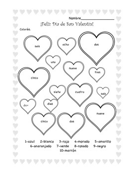 valentine coloring pages spanish | Valentine's Day Color by Number in Spanish-Feliz Día de ...