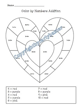Valentine's Day -Color by Numbers (Addition)