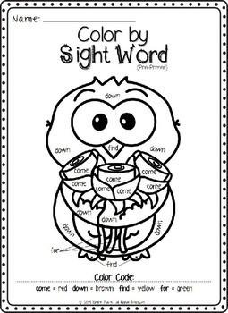 Valentine's Day Color by Sight Word Bundle (Pre-primer & Primer)