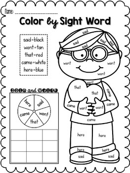 Valentine's Day Color by Sight Word FREEBIE by Sam Van ...