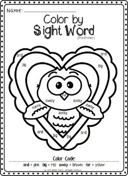 Valentine's Day Color by Sight Word (Pre-primer)