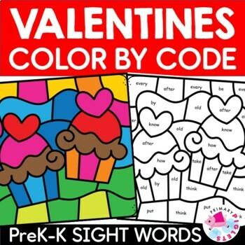 Valentines Day Color by Sight Words PreKindergarten Kindergarten BUNDLE