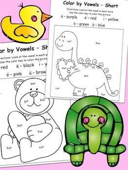 Valentine's Day Color-by-Vowels (Short) 4 Total, Short Vowel Reading Practice