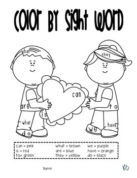 Valentine's Day Coloring (Color by: SW, Number, Sum, CVC word, etc.)