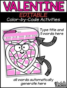 Valentines Day Coloring Valetine S Day Color By Code Editable