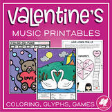 Valentine's Day Music Worksheets, Coloring, & Music Centers Activities