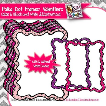 Valentine's Day Colors Polka Dot Rectangle Frame Clip Art