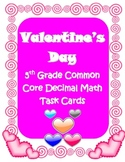 Valentine's Day Common Core 5th grade Decimals math review task cards