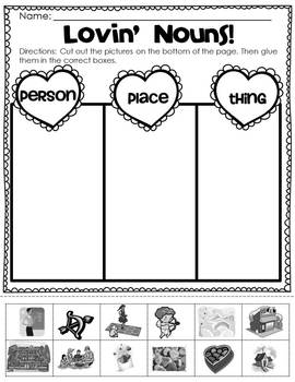 {Valentine's Day} Common Core Noun Sorting Literacy Center