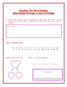 Valentine's Day Common Core Word Problems Using Multiple Strategies