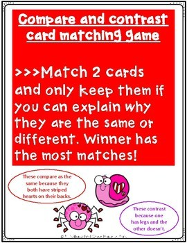 Compare Contrast Love Bugs Activities