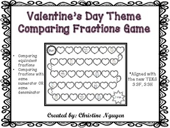 Valentine's Day Comparing Fractions Game Aligned to New Math TEKS