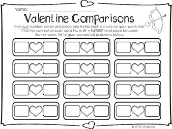 Valentine's Day Comparisons (Greater Than, Less Than, or Equal To Practice Mats)