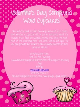 Valentine's Day Compound Word Cupcakes Match Up Game!