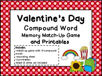 Valentine's Day Compound Word Memory Match-Up Game & Printables b&w set included