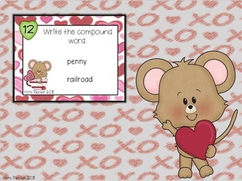 Valentine's Day Compound Word Task Cards