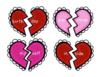 Valentine's Day Compound Words - Heart Puzzles