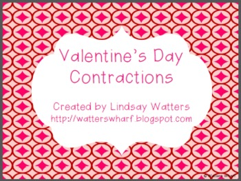 Valentine's Day Contractions - First Grade Literacy Center