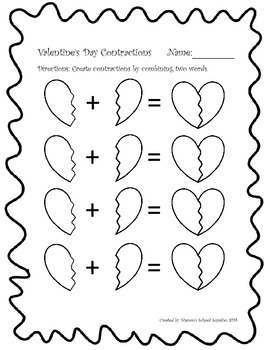 Valentine's Day Contractions Freebie
