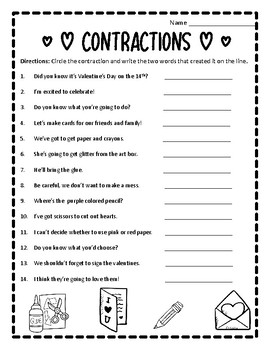 valentine contractions worksheet valentines contractions. Black Bedroom Furniture Sets. Home Design Ideas
