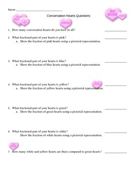 Conversation Hearts Math Questions