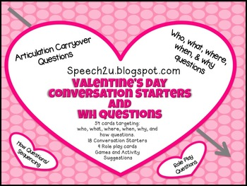 Valentine's Day Conversation Starters and WH questions
