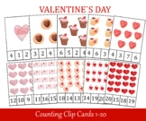 Valentines Day Count and Clip Cards, Number 1 - 20, Flashcards