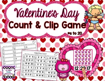 Valentine's Day Count and Clip Game - Numbers to 20