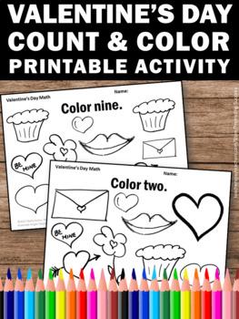 valentine 39 s day coloring pages kindergarten math worksheets count and color. Black Bedroom Furniture Sets. Home Design Ideas