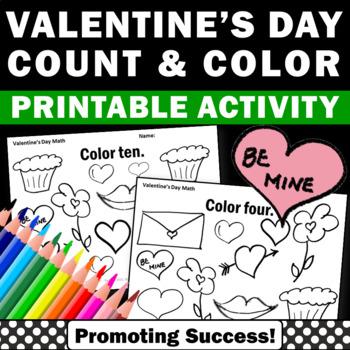 Valentine's Day Math Worksheets PreK Kindergarten Coloring
