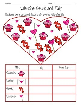 Valentine's Day Count and Tally 1.MD.4
