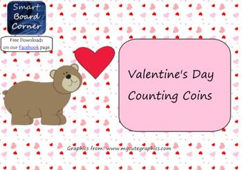 Valentine's Day Counting Coins Smart Board Lesson for Money