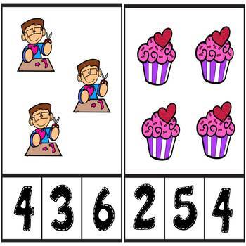 Valentines Day Counting Number Clip Cards 1 - 20 No prep Math Center Cards