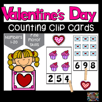Valentines Day Count and Clip Number Cards