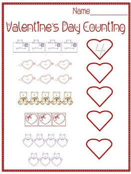Valentine's Day Counting Worksheet | Teachers Pay Teachers