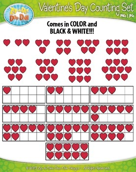 Valentine's Day Counting and Ten Frames Math Clipart {Zip-A-Dee-Doo-Dah Designs}