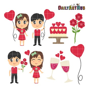 Valentines Day Couples Clip Art - Great for Art Class Projects!