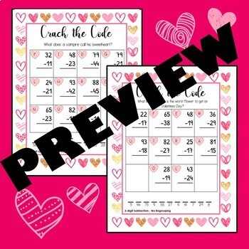 Valentines Day - Crack the Code (Addition & Subtraction)