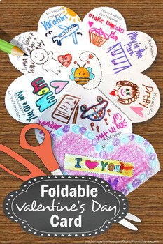 Foldable Valentine's Day Card for Students, Valentines Day Craft for Parents