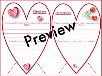 Valentine's Day Craftivity-Analyzing Song Lyric & Figurative Language