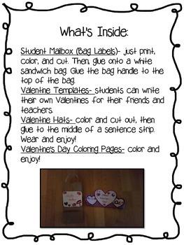 Valentine's Day Crafts-Mailbox, Valentines, and Hat